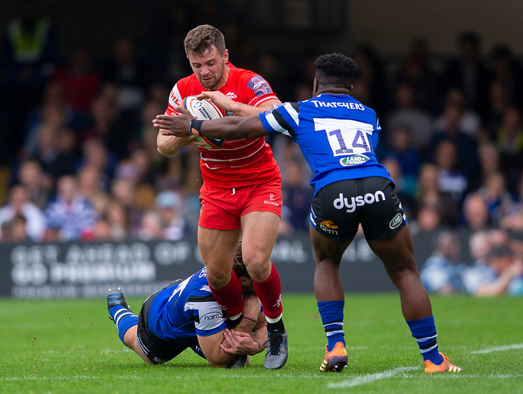 Leicester Tigers' Joe Thomas in action during todays match<br /> <br /> Photographer Bob Bradford/CameraSport<br /> <br /> Premiership Rugby Cup Round Three - Bath Rugby v Leicester Tigers - Saturday 5th October 2019 - The Recreation Ground - Bath<br /> <br /> World Copyright © 2018 CameraSport. All rights reserved. 43 Linden Ave. Countesthorpe. Leicester. England. LE8 5PG - Tel: +44 (0) 116 277 4147 - admin@camerasport.com - www.camerasport.com