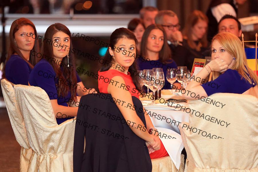 Tennis Tenis<br /> Fed Cup World Group play-off<br /> Rumunija v Srbija<br /> Official dinner<br /> Sorana Cirstea (C) Raluca Olaru (R) and Irina-Camelia Begu (L)<br /> Bucharest, 04.17.2014.<br /> foto: Srdjan Stevanovic/Starsportphoto &copy;