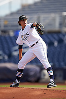 Peoria Javelinas pitcher Brent Honeywell (31), of the Tampa Bay Rays organization, during a game against the Surprise Saguaros on October 12, 2016 at Peoria Stadium in Peoria, Arizona.  The game ended in a 7-7 tie after eleven innings.  (Mike Janes/Four Seam Images)