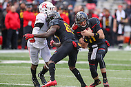 College Park, MD - November 26, 2016: Maryland Terrapins quarterback Perry Hills (11) runs the ball during game between Rutgers and Maryland at  Capital One Field at Maryland Stadium in College Park, MD.  (Photo by Elliott Brown/Media Images International)