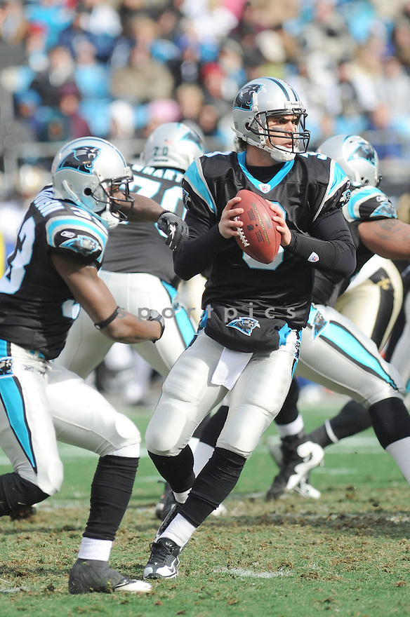 MATT MOORE, of the Carolina Panthers, in action during the Panthers game against the New Orleans Saints on January 3, 2010 in Charlotte, North Carolina. Panthers won 23-10.