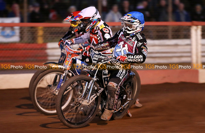 Heat 13: Edward Kennett (blue), Matej Zagar (white) and Andreas Jonsson (red) - Lakeside Hammers vs Belle Vue Aces, Elite League Speedway at the Arena Essex Raceway, Pufleet - 29/05/15 - MANDATORY CREDIT: Rob Newell/TGSPHOTO - Self billing applies where appropriate - 0845 094 6026 - contact@tgsphoto.co.uk - NO UNPAID USE