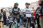 Daniel Oss (ITA) and Slovakian National Champion Peter Sagan (SVK) Bora-Hansgrohe ready for start of the 2019 Gent-Wevelgem in Flanders Fields running 252km from Deinze to Wevelgem, Belgium. 31st March 2019.<br /> Picture: Eoin Clarke | Cyclefile<br /> <br /> All photos usage must carry mandatory copyright credit (© Cyclefile | Eoin Clarke)