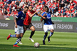 11.05.2019, BayArena, Leverkusen, GER, 1. FBL, Bayer 04 Leverkusen vs. FC Schalke 04 ,<br />  <br /> DFL regulations prohibit any use of photographs as image sequences and/or quasi-video<br /> <br /> im Bild / picture shows: <br /> Guido Burgstaller (FC Schalke #19),  ist schneller als Jonathan Tah (Leverkusen #4),  und macht das 1:1<br /> <br /> Foto &copy; nordphoto / Meuter