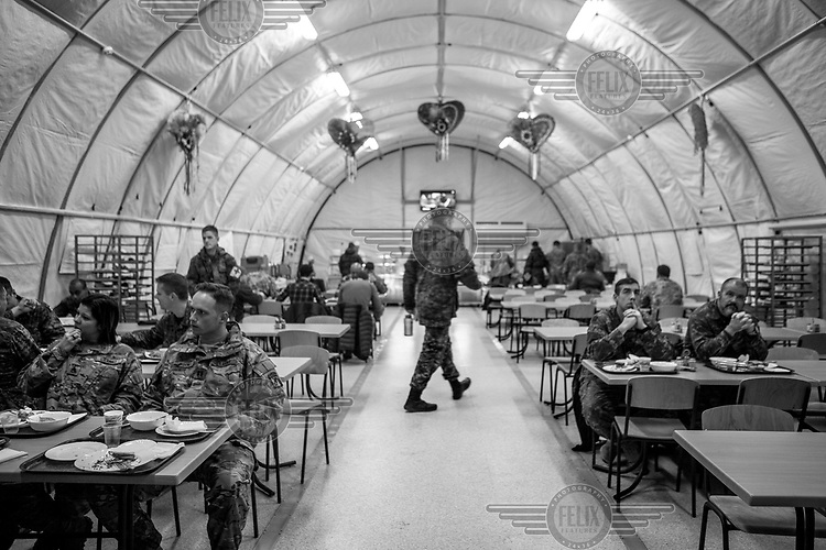 Soldierts in the military refectory in the International Peacekeeping Training Center where Ukrainian troops are trained by the Canadian and US Army.