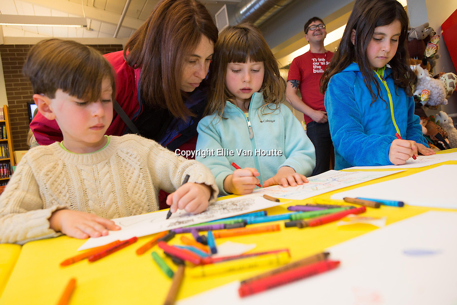 Rowan, Gemma and Julia Gentin of Mountain View participate in a mind mapping project during SFMOMA's Family Art Day at Linden Tree Books in Los Altos.