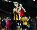 Cameron McGeehan of Cambridge Utd with his souvenir of Wayne Rooney's shirt - FA Cup Fourth Round replay - Manchester Utd  vs Cambridge Utd - Old Trafford Stadium  - Manchester - England - 03rd February 2015 - Picture Simon Bellis/Sportimage