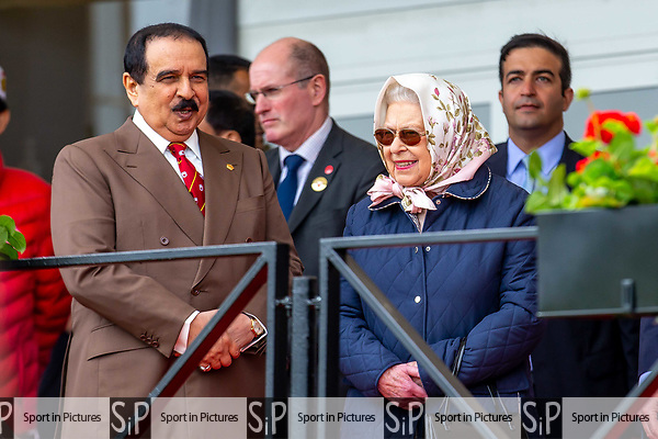 Day 3. Royal Windsor Horse Show. Windsor. Berkshire. UK. Endurance. HRH Queen Elizabeth ll.  Accompanied by Hamad bin Isa Al Khalifa.  King of Bahrain. 11/05/2018. ~ MANDATORY Credit Elli Birch/Sportinpictures - NO UNAUTHORISED USE - 07837 394578