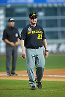 Missouri Tigers third base coach odd Butler (22) during the game against the Texas Longhorns in game eight of the 2020 Shriners Hospitals for Children College Classic at Minute Maid Park on March 1, 2020 in Houston, Texas. The Tigers defeated the Longhorns 9-8. (Brian Westerholt/Four Seam Images)