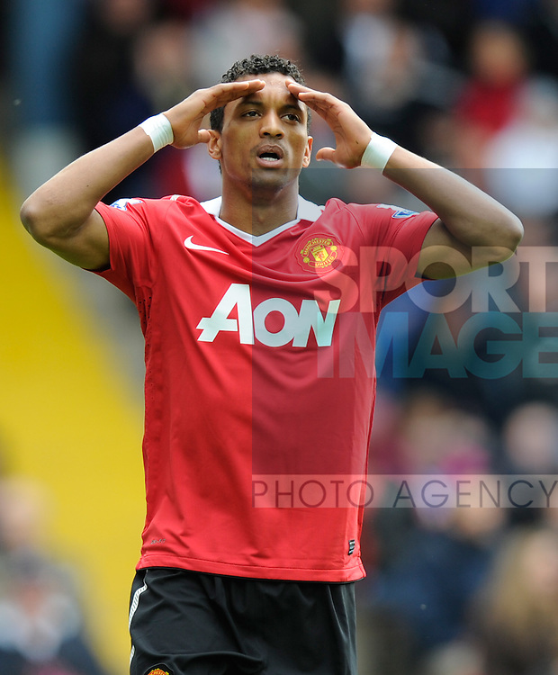 Nani of Manchester United reaction after missing a chance to score