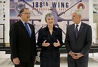 NWA Democrat-Gazette/DAVID GOTTSCHALK Secretary of the Air Force Heather Wilson (center) speaks Monday, March 26, 2018, after visiting the 188th Wing at Ebbing Air National Guard Base in Fort Smith. Wilson, Senator John Boozman (left) and Congressman Steve Womack toured the wing and viewed the missions of the Remote Piloted Aircraft Operations Center, Distributed Communications Ground System, and the Targeting Intelligence Production Squadron.