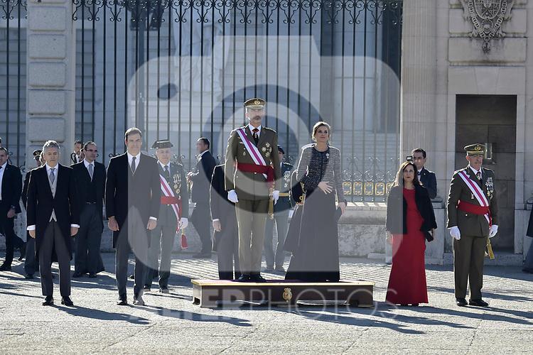 -FErnando Grande-Marlaska, Pedro Sanchez, King Felipe VI of Spain, Queen Letizia of Spain and Margarita Robles attends to Pascua Militar at Royal Palace in Madrid, Spain. January 06, 2019. (ALTERPHOTOS/Pool)