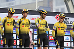 Team Jumbo-Visma on stage at sign on before the 2019 Gent-Wevelgem in Flanders Fields running 252km from Deinze to Wevelgem, Belgium. 31st March 2019.<br /> Picture: Eoin Clarke | Cyclefile<br /> <br /> All photos usage must carry mandatory copyright credit (© Cyclefile | Eoin Clarke)