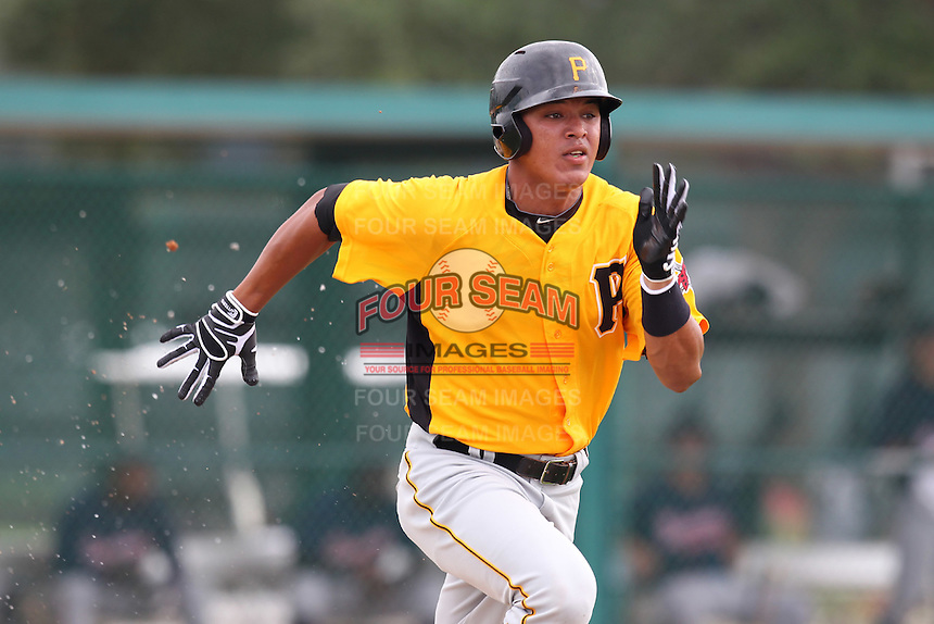 GCL Pirates outfielder Jose Osuna #16 runs to first during a game against the GCL Braves at Disney Wide World of Sports on June 25, 2011 in Kissimmee, Florida.  The Pirates defeated the Braves 5-4 in ten innings.  (Mike Janes/Four Seam Images)