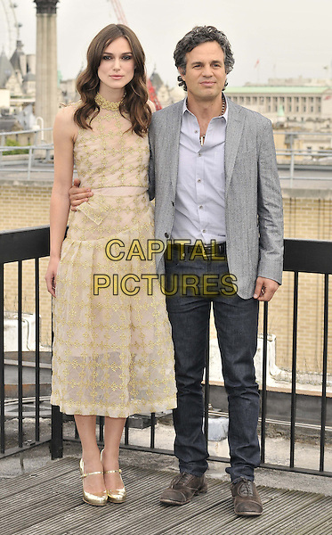 LONDON, ENGLAND - JULY 02: Keira Knightley &amp; Mark Ruffalo attend the &quot;Begin Again&quot; press photocall on the rooftop of Picturehouse Cinemas Ltd., St Vincent House, Orange St., on Wednesday July 02, 2014 in London, England, UK.<br /> CAP/CAN<br /> &copy;Can Nguyen/Capital Pictures