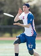 """Washington, DC - APR 22, 2018: DC Breeze Matt Kerrigan (87) catches a pass during AUDL game between DC Breeze and the Ottawa Outlaws. The DC Breeze get the win 26-19 over Ottawa in the Battle of the Capitals"""" at Catholic University Washington, DC. (Photo by Phil Peters/Media Images International)"""