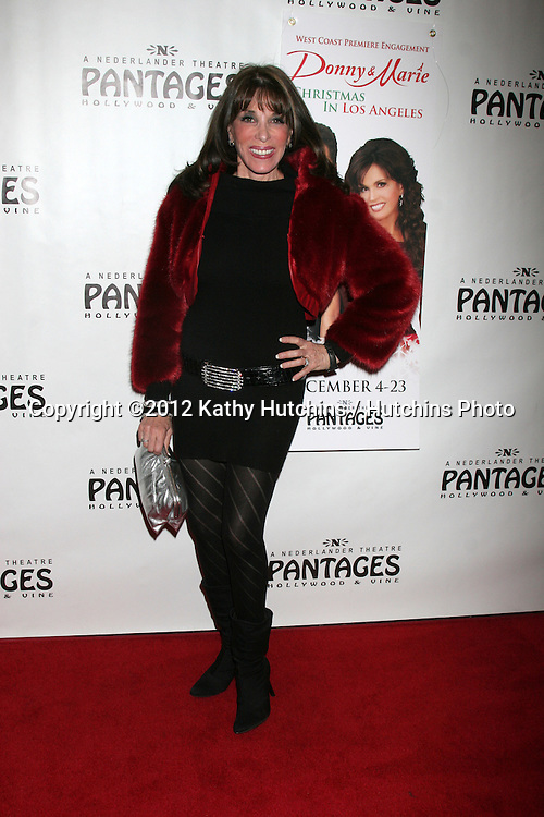 "LOS ANGELES - DEC 4:  Kate Linder arrives to ""Donny & Marie - Christmas in Los Angeles"" Opening Night at Pantages Theater on December 4, 2012 in Los Angeles, CA"
