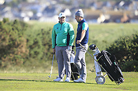 Caolan Rafferty and Alex Gleeson from Ireland on the 11th fairway during Round 2 Foursomes of the Men's Home Internationals 2018 at Conwy Golf Club, Conwy, Wales on Thursday 13th September 2018.<br /> Picture: Thos Caffrey / Golffile<br /> <br /> All photo usage must carry mandatory copyright credit (&copy; Golffile | Thos Caffrey)