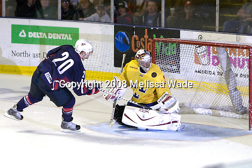 Phil Kessel (USA 20 - Boston Bruins/University of Minnesota), Mikael Tellqvist (Sweden 32 - Phoenix Coyotes) - A shootout was held despite the score.  The US won the shootout during sudden death.  Team USA defeated Team Sweden 5-1 on Sunday, April 27, 2008, in an exhibition match at the Cumberland County Civic Center in Portland, Maine, prior to the 2008 World Championships.