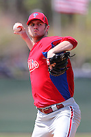 Philadelphia Phillies Kyle Kendrick #38 during a minor league spring training game against the New York Yankees at the Carpenter Complex on March 22, 2012 in Clearwater, Florida.  (Mike Janes/Four Seam Images)