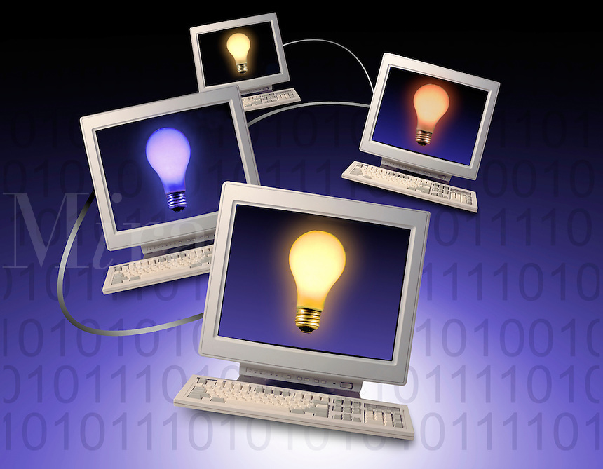 networked computers with lightbulbs on a background of 0's and 1's. .