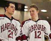 Marshall Everson (Harvard - 21), Brendan Rempel (Harvard - 12) - The Class of 2013 was celebrated following the final Harvard Crimson home game of the season on Saturday, March 2, 2013, at Bright Hockey Center in Cambridge, Massachusetts.