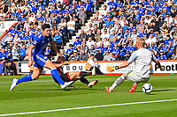 Ryan Fraser of AFC Bournemouth scores the second goal with a shot between the legs of Kasper Schmeichel of Leicester City during AFC Bournemouth vs Leicester City, Premier League Football at the Vitality Stadium on 15th September 2018