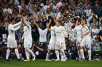 Players Real Madrid celebrating goal of  Gareth Bale during the UEFA Champions League match between Real Madrid and Manchester City at the Santiago Bernabeu Stadium in Madrid, Wednesday, May 4, 2016.
