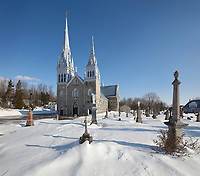 Church of Saint-Charles-des-Grondines, a catholic church built 1839-42 in Neo Gothic style, in Grondines, on the Chemin du Roy, Quebec, Canada. The Chemin du Roy or King's Highway is a historic road along the Saint Lawrence river built 1731-37, connecting communities between Quebec City and Montreal. Picture by Manuel Cohen