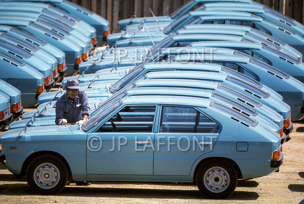 September 1976. Ulsan, South Korea. Hyundai Factory. Car Model: Pony. The Hyundai Factory is flooded with the first wave of sub-compact cars.