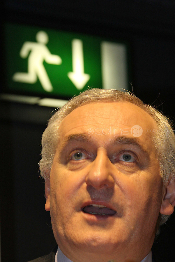 03/04/'08 Taoiseach Bertie Ahern pictured  at University College Dublin this morning where he addressed the Global Irish Institute on the tenth anniversary of the Good Friday Agreemant....Picture Collins, Dublin, Colin Keegan.