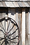 Shed and wagon wheel, Cant ranch museum, near Sheep Rock, Oregon