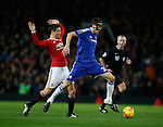 Nemanja Matic of Chelsea pushes past Ander Herrera of Manchester United - English Premier League - Manchester Utd vs Chelsea - Old Trafford Stadium - Manchester - England - 28th December 2015 - Picture Simon Bellis/Sportimage
