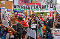 19th Aug 2012, Kingsley Burrell March, Birmingham.Hundreds of people joined the family of Kingsley Burrell to march through Birmingham protesting his death. They were joined by friends and family of other justice campaigns of people who likewise had been killed in custody or following police contact, such as Anthony Grainger, Demetre Fraser, Sean Rigg. Various misjustice campaigns also gave physical support to the march..