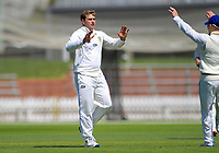 Otago's Dean Foxcroft celebrates dismissing Wellington's Rachin Ravindra during day two of the Plunket Shield cricket match between the Wellington Firebirds and Otago Volts at the Basin Reserve in Wellington, New Zealand on Tuesday, 22 October 2019. Photo: Dave Lintott / lintottphoto.co.nz