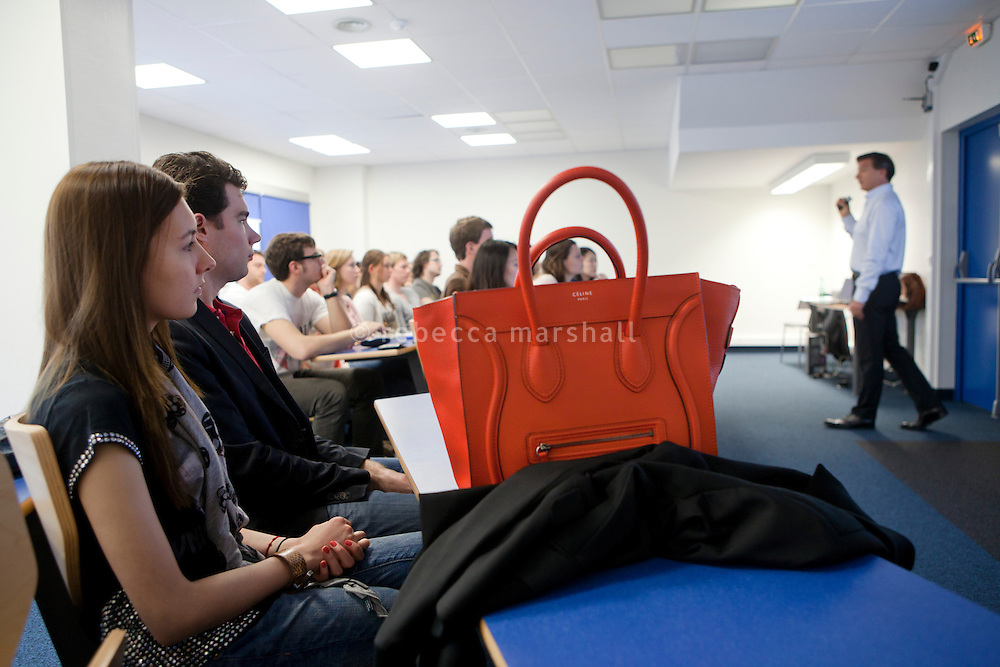 """Professor Luca Signoretti gives a lecture on """"Brand Management"""" to undergraduate students at the International University of Monaco, Fontvielle, Monaco, 19 April 2013"""