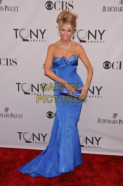 Christie Brinkley.The 2011 Tony Awards held at The Beacon Theater, New York City, NY, USA..June 12th, 2011.full length dress clutch bag  blue strapless hair up embellished jewel encrusted necklace diamonds .CAP/ADM/CS.©Christopher Smith/AdMedia/Capital Pictures.