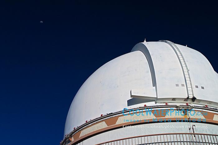 University of Hawaii 2.2-meter Telescope and moon, Mauna Kea Observatories, Big Island, Hawaii