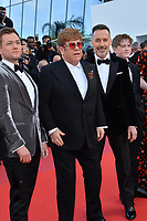 "CANNES, FRANCE. May 16, 2019: Taron Egerton, Sir Elton John & David Furnish at the gala premiere for ""Rocketman"" at the Festival de Cannes.<br /> Picture: Paul Smith / Featureflash"