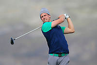 Alex Gleeson from Ireland on the 4th tee during Round 2 Singles of the Men's Home Internationals 2018 at Conwy Golf Club, Conwy, Wales on Thursday 13th September 2018.<br /> Picture: Thos Caffrey / Golffile<br /> <br /> All photo usage must carry mandatory copyright credit (&copy; Golffile | Thos Caffrey)
