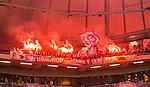 Solna 2015-10-04 Fotboll Allsvenskan AIK - Malm&ouml; FF :  <br /> Malm&ouml;s supportrar eldar med bengaler inf&ouml;r andra halvlek under matchen mellan AIK och Malm&ouml; FF <br /> (Foto: Kenta J&ouml;nsson) Nyckelord:  AIK Gnaget Friends Arena Allsvenskan Malm&ouml; MFF supporter fans publik supporters tif bengaler bengal