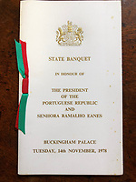 BNPS.co.uk (01202 558833)<br /> Pic: Charterhouse/BNPS<br /> <br /> The State Banquet for The President of Portugal in 1978<br /> <br /> The fascinating archive of a longstanding member of staff to the Royal family has emerged for sale.<br /> <br /> It features a selection of Royal Christmas cards, including one from 2019, as well as a slice of wedding cake and an order of service from Charles and Diana's wedding in 1981.<br /> <br /> The vendor, who wishes to remain anonymous, is also selling their Royal 'personal service' medal and the menu and seat plan for a state banquet in 1980.<br /> <br /> They worked at Buckingham Palace from the late 70s to the beginning of the 21st century, receiving Christmas cards every year since as a token of their service.<br /> <br /> The collection is being sold with Charterhouse Auctioneers, of Sherborne, Dorset. It is expected to fetch £1,500.