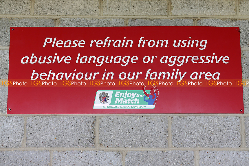Family area signage during Dagenham & Redbridge vs Wrexham, Vanarama National League Football at the Chigwell Construction Stadium on 13th October 2018