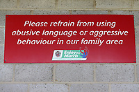 Family area signage during Dagenham & Redbridge vs Wrexham, Vanarama National League Football at the Chigwell Construction Stadium on 13th October 2018