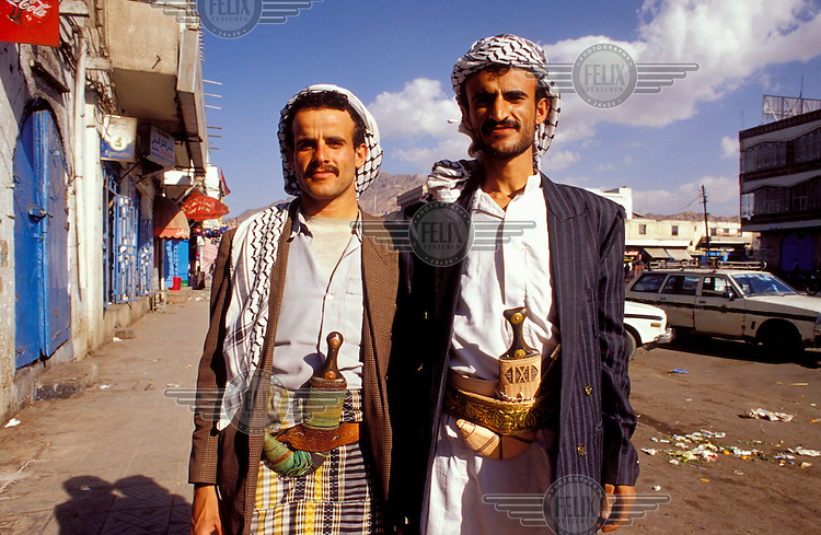 Men in traditional dress with daggers, Sana'a, Yemen...© Chris Stowers/Panos