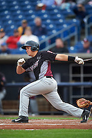 Wisconsin Timber Rattlers catcher Natanael Mejia (14) at bat during the first game of a doubleheader against the Quad Cities River Bandits on August 19, 2015 at Modern Woodmen Park in Davenport, Iowa.  Quad Cities defeated Wisconsin 3-2.  (Mike Janes/Four Seam Images)