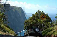 4x4 heads down into Waipio valley The Big Island of Hawaii, Pacific Ocean