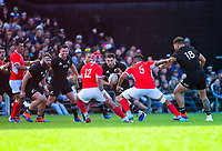 Luke Jacobson takes the ball up during the international rugby union match between the New Zealand All Blacks and Tonga at FMG Stadium in Hamilton, New Zealand on Saturday, 7 September 2019. Photo: Dave Lintott / lintottphoto.co.nz