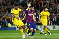 27th November 2019; Camp Nou, Barcelona, Catalonia, Spain; UEFA Champions League Football, Barcelona versus Borussia Dortmund;  Leo Messi shileds the ball from his defender  - Editorial Use