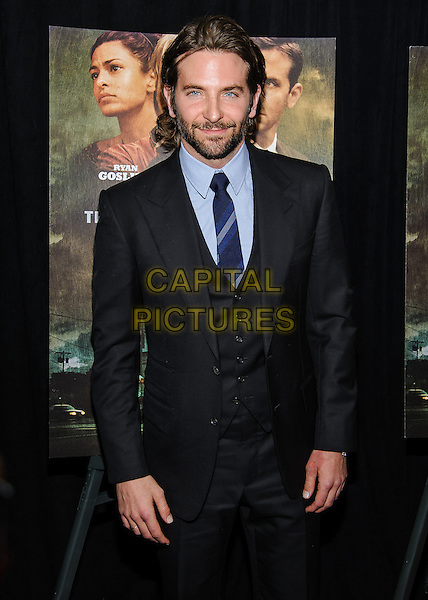 Bradley Cooper.'The Place Beyond The Pines' New York Premiere, New York, New York, USA..March 28th, 2013.half length waistcoat black blue shirt tie suit beard facial hair .CAP/ADM/MSA.©Mario Santoro/AdMedia/Capital Pictures.